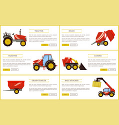 Grain trailer baler posters vector