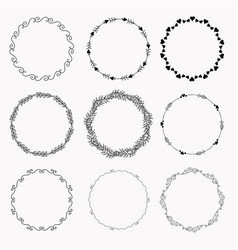 hand drawn decorative circles ink collection of vector image