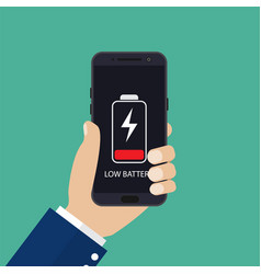hand holding smartphone with low battery vector image