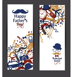 Happy fathers day banners set vector image