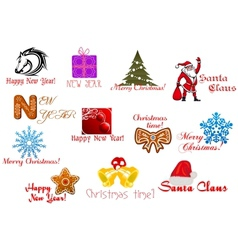 Headlines and icons for Christmas holiday vector image