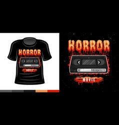 Horror t-shirt print with video cassette vector