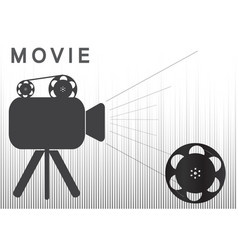 icons of the camera and film on a gray background vector image
