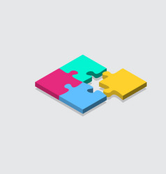 isometric jigsaw puzzle grid background tile vector image