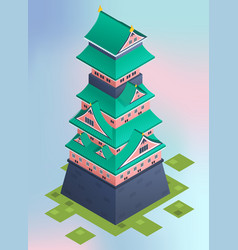 Isometric traditional japanese castle vector