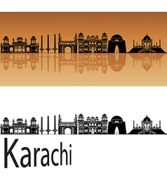 Karachi skyline in orange vector