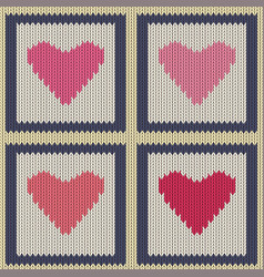 knitted woolen seamless pattern with pink hearts vector image