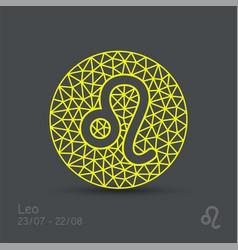 Leo zodiac sign in circular frame vector