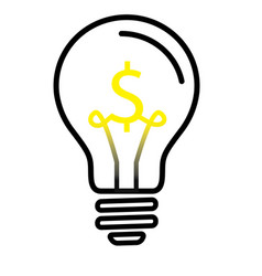 light bulb lamp with us dollar currency symbol vector image