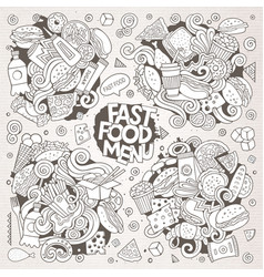 Line art hand drawn doodles cartoon set of vector