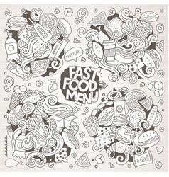 Line art hand drawn doodles cartoon set vector