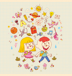 Little boy and girl going to school vector