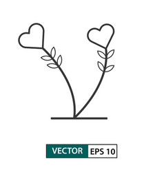 love flower icon outline style isolated on white vector image