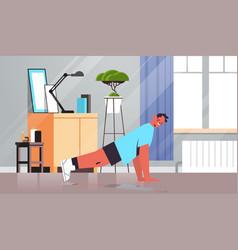 Man doing push ups exercises at home guy having vector