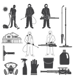 Man in protective suit gas mask and gas cylinder vector