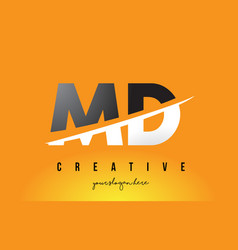 Md m d letter modern logo design with yellow vector