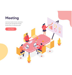 Meeting room isometric concept isometric design vector