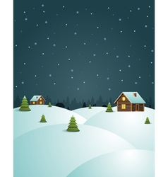 Merry Christmas postcard village background vector image