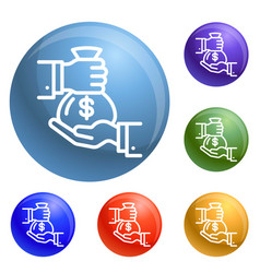 money bag icons set vector image