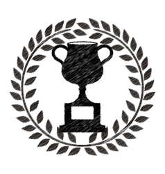 monochrome striped trophy cup with olive crown vector image