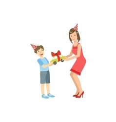 Mother And Child Celebrating Birthday Together vector image vector image