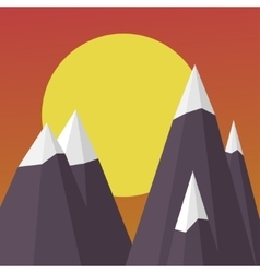 Mountains on the Sun background sunset landscape vector