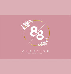 Number 88 8 logo design with golden circle vector