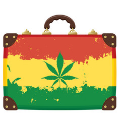 Old suitcase with rasta flag pattern image vector