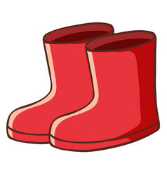 Pair red boots on white background vector