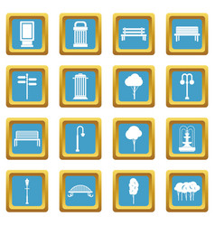 park icons azure vector image