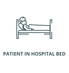 Patient in hospital bed line icon linear vector