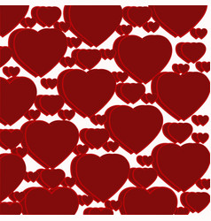 pattern of dark red hearts vector image