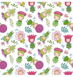 Pattern with cute cartoon flower fairies forest vector