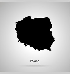 poland country map simple black silhouette vector image