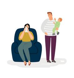 Postpartum depression concept vector