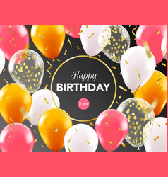 realistic balloon greeting card celebrations vector image