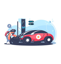 Red electric car charging at the charger station vector