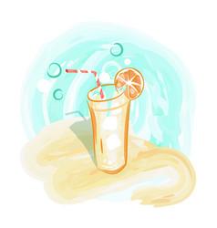 Refreshing drink on sandy beach background vector