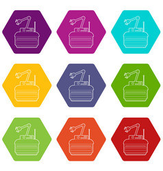 Robot crane icons set 9 vector