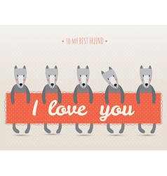 romantic greeting card with cute dogs and hearts vector image