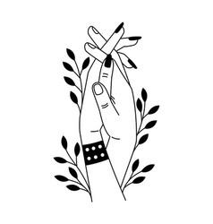 romantic handshake cartoon two hands of lovers vector image