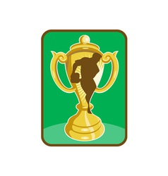 Rugchampionship cup player silhouette vector