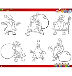 santa claus set coloring book vector image