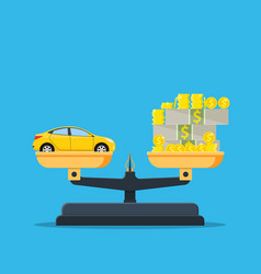 scales with car and money flat style vector image