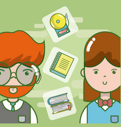 school and teachers cartoon vector image