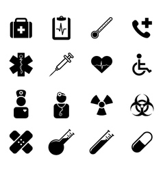 set black flat icons - medicine and healthcare vector image