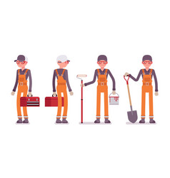 Set of male worker in bright orange overall vector
