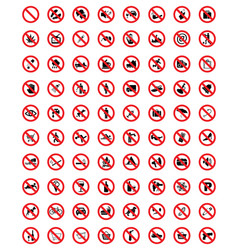 set of prohibit icons vector image