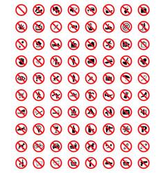 Set prohibit icons vector