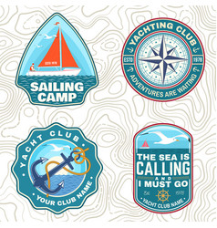 Set summer sailing camp patches vector
